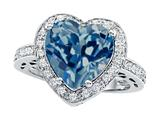 Original Star K Large 10mm Heart Shape Simulated Blue Topaz Engagement Wedding Ring