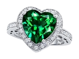 Original Star K Large 10mm Heart Shape Simulated Emerald Engagement Wedding Ring