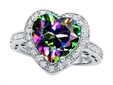 Original Star K™ Large 10mm Heart Shape Rainbow Mystic Topaz Engagement Wedding Ring