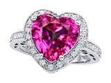 Original Star K Large 10mm Heart Shape Created Pink Sapphire Engagement Wedding Ring