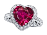 Original Star K Large 10mm Heart Shape Created Ruby Engagement Wedding Ring