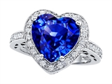 Original Star K Large 10mm Heart Shape Simulated Tanzanite Engagement Wedding Ring
