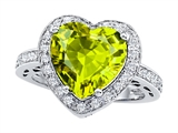 Original Star K Large 10mm Heart Shape Simulated Peridot Engagement Wedding Ring