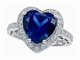 Original Star K Large 10mm Heart Shape Created Sapphire Engagement Wedding Ring