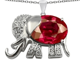 Original Star K Large 12x10mm Oval Created Ruby Good Luck Elephant Pendant