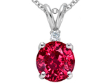 Tommaso Design Round 8mm Created Ruby and Genuine Diamond Pendant