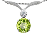 Tommaso Design™ Round 7mm Genuine Peridot and Diamond Pendant