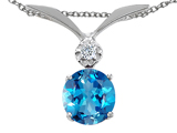 Tommaso Design Round 7mm Genuine Blue Topaz and Diamond Pendant