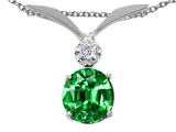 Tommaso Design Round 7mm Simulated Emerald and Genuine Diamond Pendant