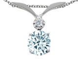 Tommaso Design™ Round 7mm Simulated Aquamarine and Diamond Pendant style: 307435