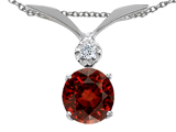 Tommaso Design™ Round 7mm Genuine Garnet and Diamond Pendant