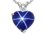 Tommaso Design 8mm Heart Shape Created Star Sapphire and Genuine Diamond Heart Pendant