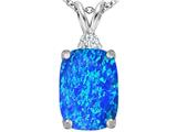 Star K™ Large 14x10mm Cushion Cut Blue Created Opal Pendant Necklace style: 307441