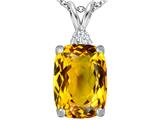 Star K™ Large 14x10mm Cushion Cut Simulated Citrine Pendant Necklace style: 307444