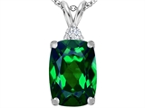 Star K™ Large 14x10mm Cushion Cut Simulated Emerald Pendant Necklace style: 307445