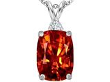Star K™ Large 14x10mm Cushion Cut Simulated Orange Mexican Fire Opal Pendant Necklace style: 307446