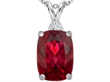 Original Star K Large 14x10mm Cushion Cut Created Ruby Pendant