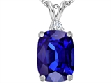 Original Star K™ Large 14x10mm Cushion Cut Simulated Tanzanite Pendant