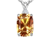Original Star K Large 14x10mm Cushion Cut Simulated Imperial Yellow Topaz Pendant