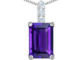 Original Star K™ Large 14x10mm Emerald Cut Simulated Amethyst Pendant