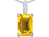 Original Star K Large 14x10mm Emerald Cut Simulated Citrine Pendant