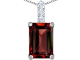 Original Star K Large 14x10mm Emerald Cut Simulated Garnet Pendant