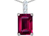 Original Star K Large 14x10mm Emerald Cut Created Ruby Pendant