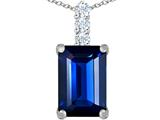 Original Star K Large 14x10mm Emerald Cut Created Sapphire Pendant