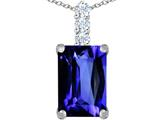 Original Star K Large 14x10mm Emerald Cut Simulated Tanzanite Pendant