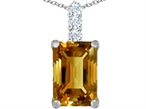 Original Star K Large 14x10mm Emerald Cut Simulated Imperial Yellow Topaz Pendant