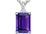 Original Star K Large 14x10mm Emerald Cut Simulated Amethyst Pendant