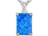 Star K™ Large 14x10mm Emerald Cut Blue Created Opal Pendant Necklace style: 307472
