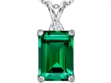 Original Star K Large 14x10mm Emerald Cut Simulated Emerald Pendant