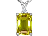 Original Star K Large 14x10mm Emerald Cut Simulated Peridot Pendant
