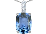 Original Star K™ Large 14x10mm Cushion Cut Simulated Aquamarine Pendant
