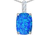 Star K™ Large 14x10mm Cushion Cut Blue Created Opal Pendant Necklace style: 307487