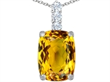 Original Star K Large 14x10mm Cushion Cut Simulated Citrine Pendant