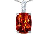 Original Star K Large 14x10mm Cushion Cut Simulated Orange Mexican Fire Opal Pendant