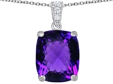 Original Star K Large 12x10mm Cushion Cut Simulated Amethyst Pendant