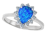 Original Star K 8x6mm Pear Shape Created Blue Opal Engagement Ring