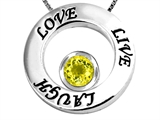 Original Star K Live/Love/Laugh Circle of Life Pendant with Round 7mm Simulated Yellow Sapphire
