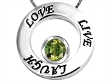 Original Star K Live/Love/Laugh Circle of Life Pendant with Round 7mm Simulated Green Tourmaline
