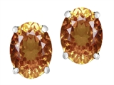 Original Star K Oval 8x6mm Simulated Imperial Yellow Topaz Earring Studs