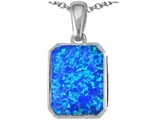 Star K™ Emerald Cut 10x8mm Blue Created Opal Pendant Necklace style: 307528
