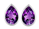 Original Star K 9x6mm Pear Shape Genuine Amethyst Earring Studs