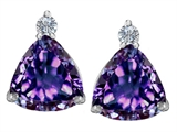 Star K™ 7mm Trillion Cut Simulated Alexandrite Earrings Studs style: 307532