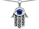 Original Star K Kabbalah Good Luck Hamsa Evil Eye Protection Pendant with Round Created Sapphire