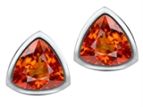 Original Star K 7mm Trillion Cut Simulated Orange Mexican Fire Opal Earring Studs