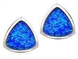 Star K™ 7mm Trillion Cut Blue Created Opal Earrings Studs style: 307543