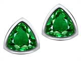 Original Star K™ 7mm Trillion Cut Simulated Emerald Earring Studs